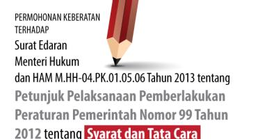 Permohonan Keberatan Terhadap Surat Edaran Menteri Hukum dan HAM M.HH-04.PK.01.05.06 Tahun 2013tentang Petunjuk Pelaksanaan Pemberlakukan Peraturan Pemerintah Nomor 99 Tahun 2012 tentang Syarat dan Tata Cara Pelaksanaan Hak Warga Binaan Pemasyarakatan