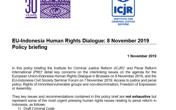 ICJR & PRI Policy Brief: EU – Indonesia Human Rights Dialogue